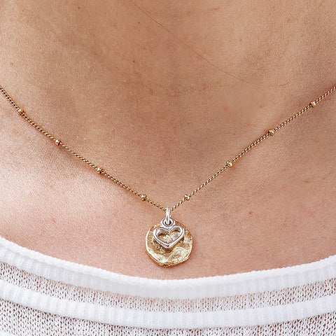 Pixie Necklace with Petite Heart Charm Duo