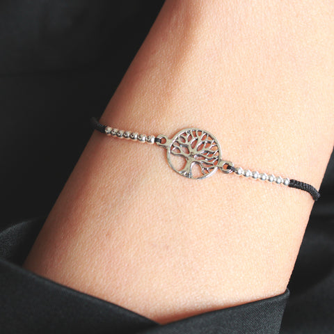 Portland Adjustable Sterling Silver Bracelet with Tree of life