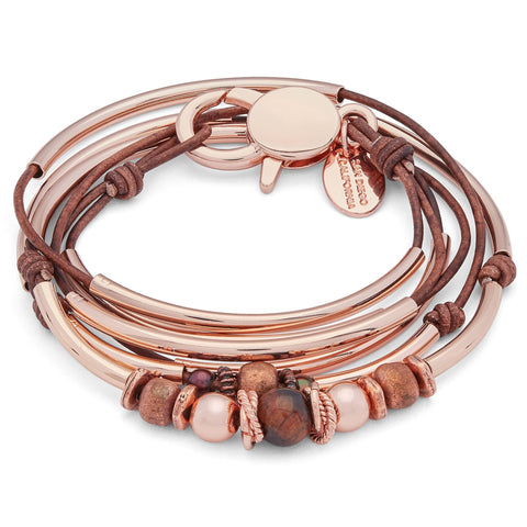 Quinn Rose Gold Bracelet with Tiger's Eye Copper and Rose Gold Beads shown in natural antique brown leather