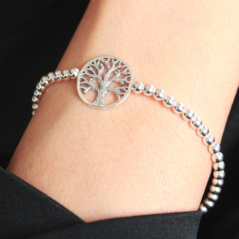 Raleigh Adjustable Sterling Silver Bracelet with Tree of life Charm