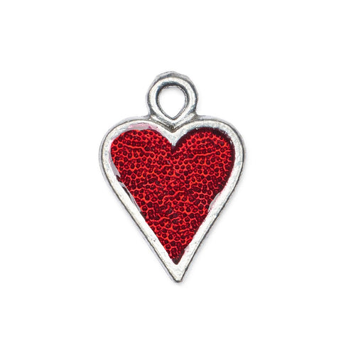 Hand painted red enamel heart charm made in the USA