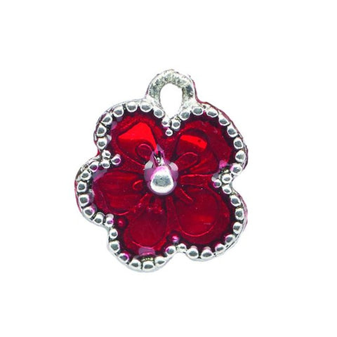 Red Enamel Flower Charm