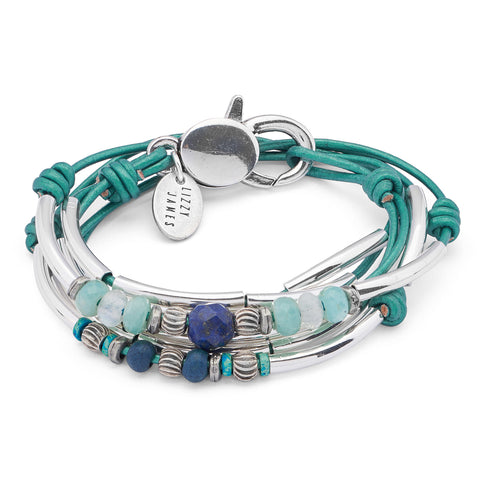 Reese with Amazonite Lapis and Moonstone Beads shown in metallic teal leather