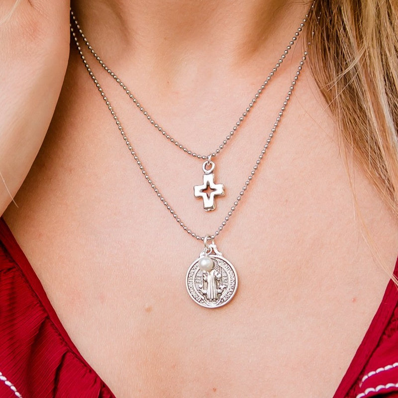 Rose Stainless Steel Layered Necklace with Cross Saint Benedict and Pearl Charms