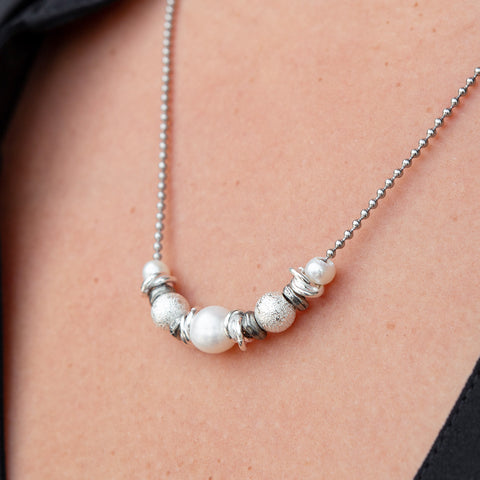Rosemary Stainless Steel Layering Necklace with Pearl