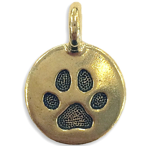 Round Paw charm in goldtone