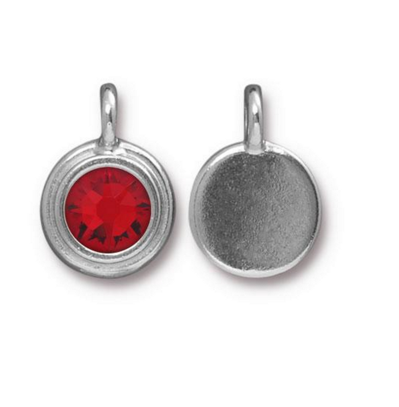July Birthstone Ruby Red Swarovski Crystal Charm - Silver