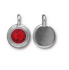 Ruby Red Crystal Charm, both sides shown