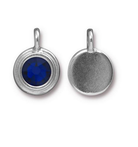 Sapphire Blue Crystal Charm, both sides shown