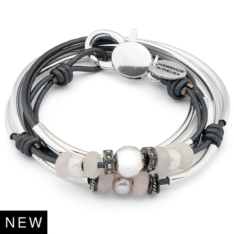 Sarabeth silver wrap bracelet with Rose Quartz shown in metallic gunmetal leather