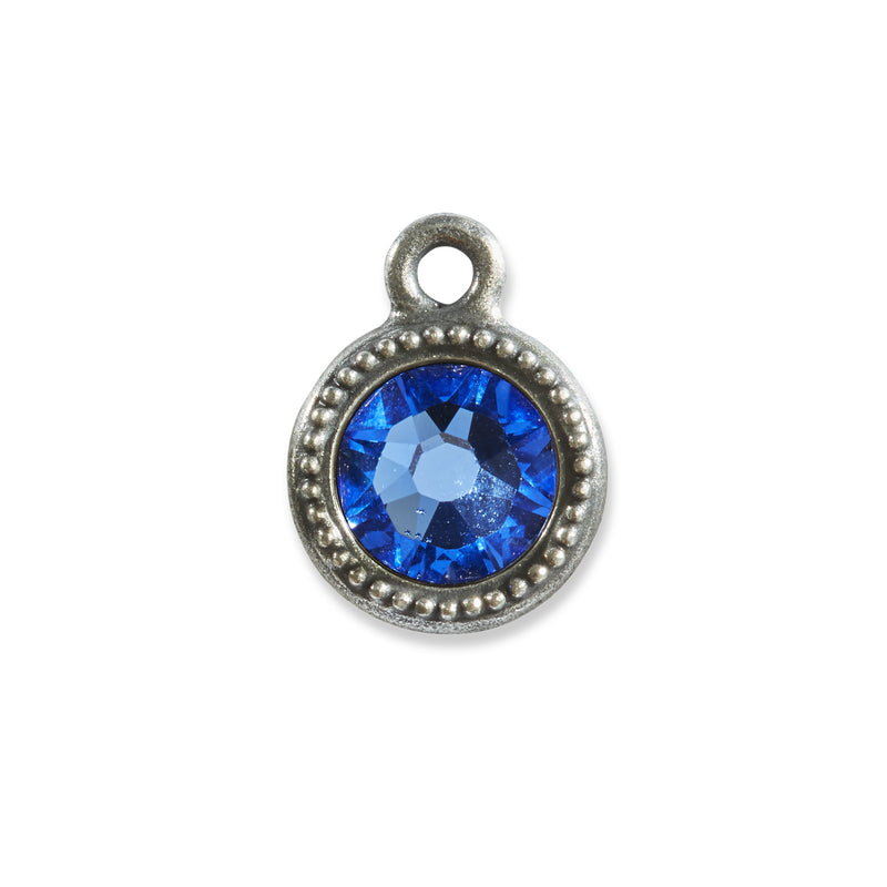 September Birthstone Blue Swarovski Crystal Charm