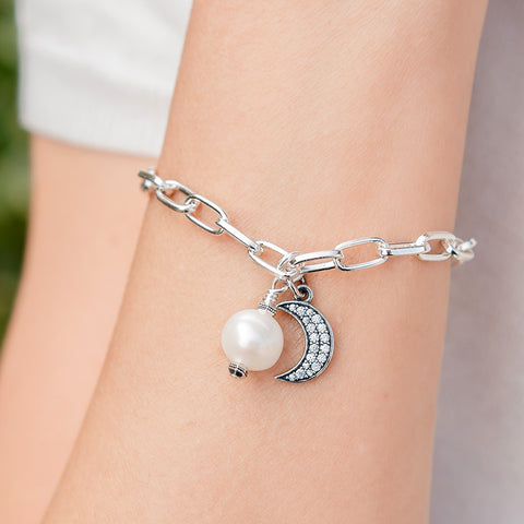 Seville Silver Bracelet with Pearl and Sterling CZ Crescent Moon