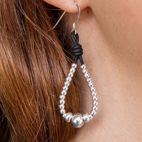 Shalene Leather Teardrop Earrings