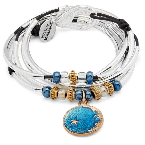 Shibon Silver and Leather Wrap Bracelet Necklace with Enamel Moon Charm shown in black leather