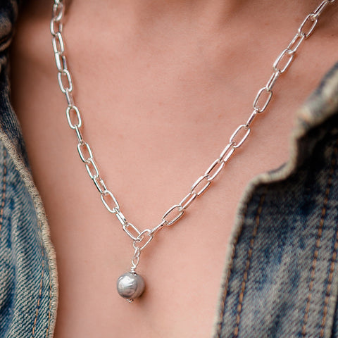 Daily Luxe Silver Adjustable Necklace with Silver Pearl Pendant