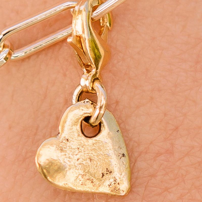 Petite Hammered Gold Heart Charm