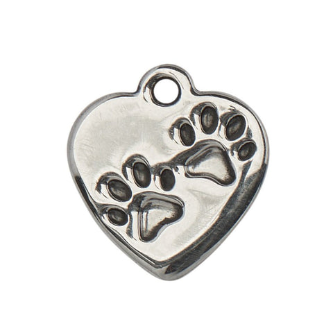 Paw Print Heart Stainless Steel Charm