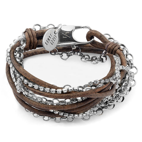 Sydney Silver and Leather Bracelet with Rhinestones shown in natural brown gray leather