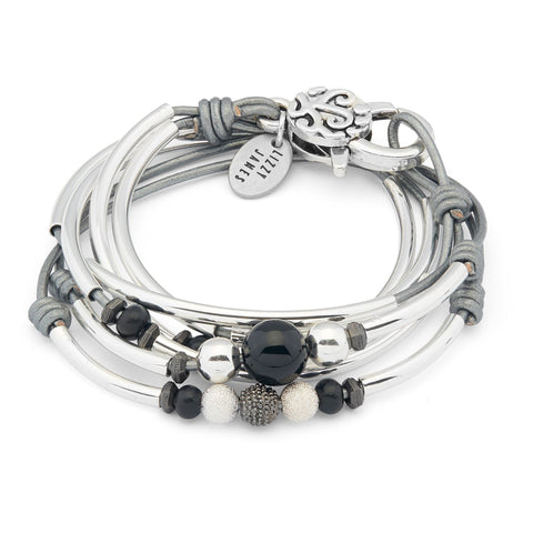 Sylvia silver bracelet with Onyx beads shown in metallic silver leather