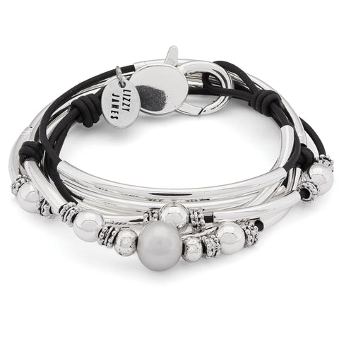 Taffy Silver and Leather Wrap Bracelet Necklace with Pearls shown in natural black leather