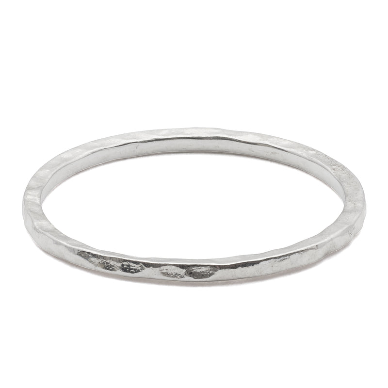 Thin Hammered Band Sterling Silver Ring