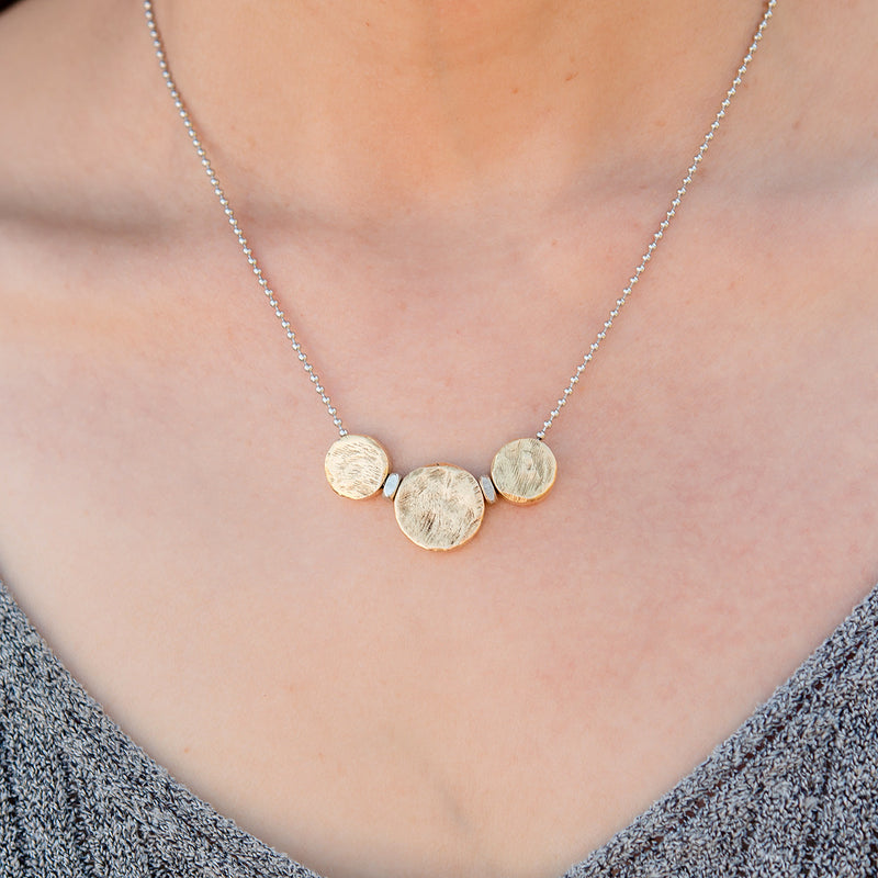 3 Gold Circles Adjustable Necklace