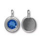 Topaz Blue Crystal Charm, both sides shown