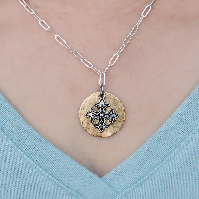 Toujours Silver Adjustable Necklace with Florentine cross Pendant
