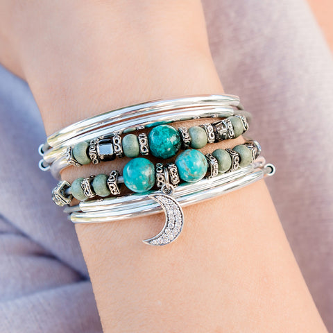 Trillium with Turquoise Add your Charm Choice Silver Wrap Bracelet shown with the CZ moon charm