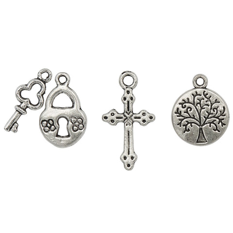 Trust in Growth heart lock, cross and tree of life charm trio