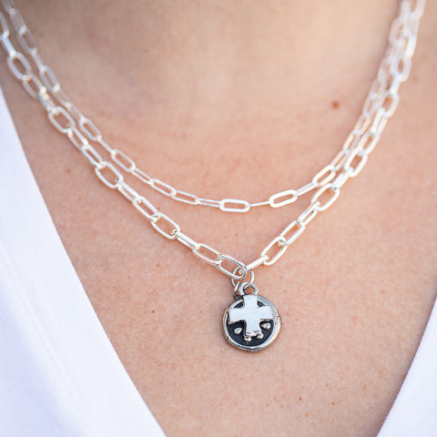 Tundra Silver Tiered Necklace with Cross Pendant