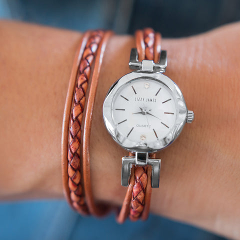 The Velocity watch shown in natural spice leather