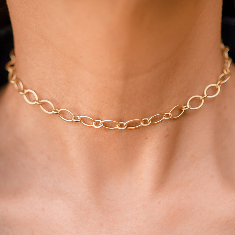 Venice matte Gold Chain Choker or Necklace