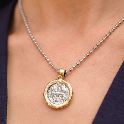 Gold and Silver Vintage Medallion on Adjustable Stainless Steel Necklace