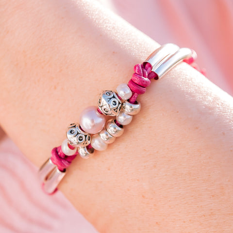Vitality with Pearls in Distressed Pink Leather - Size Adjustable