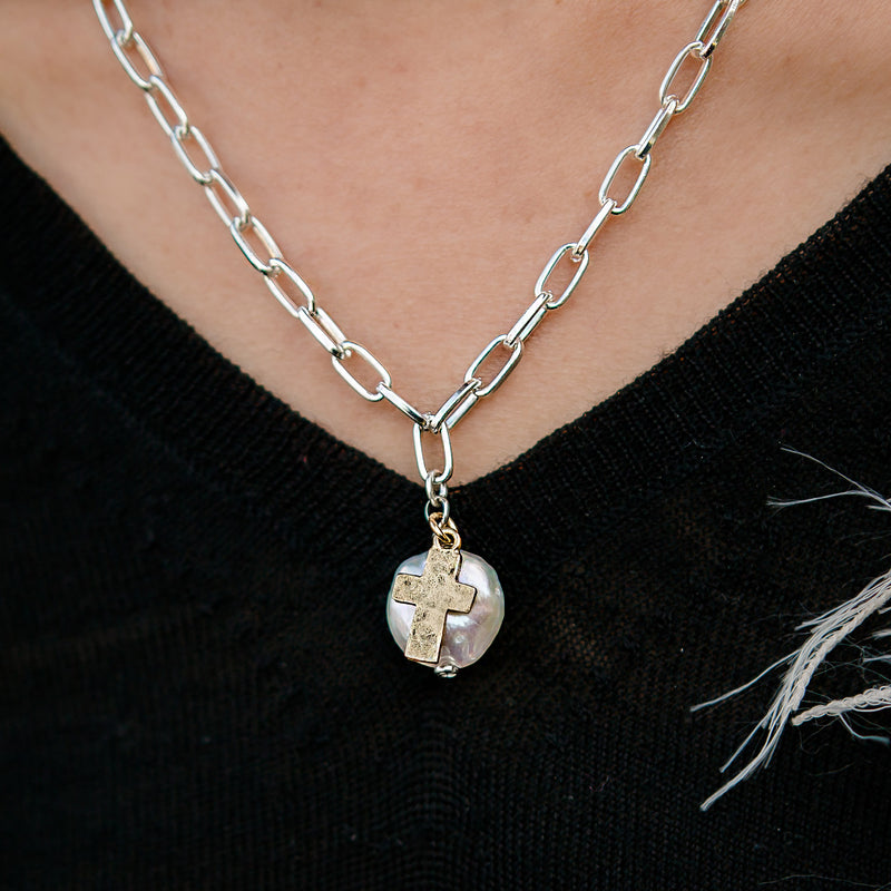 Daily Luxe Silver Adjustable Necklace with Luminous Pearl and Gold Cross Pendant