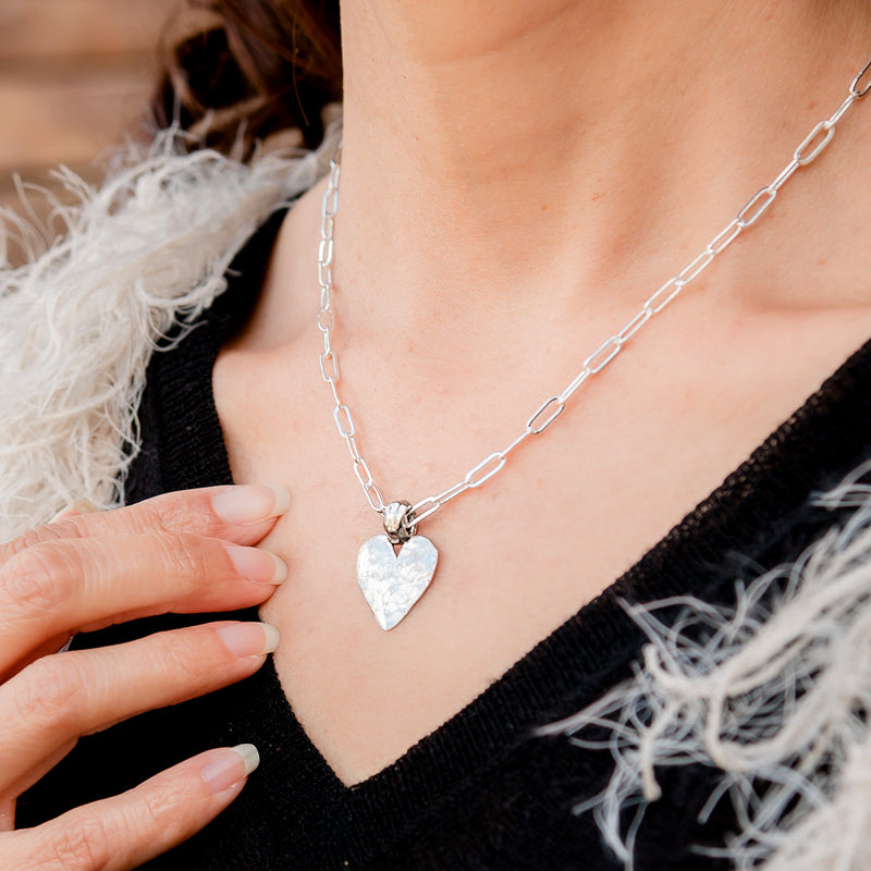 Amore Silver Heart Chain Adjustable Necklace