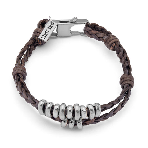Weekender men's bracelet features braided leather, silverplate beads and a stainless steel clasp. Shown in brown leather