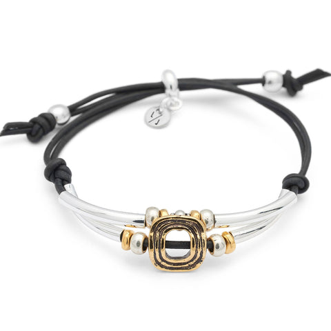 Zella Adjustable Bracelet in black leather