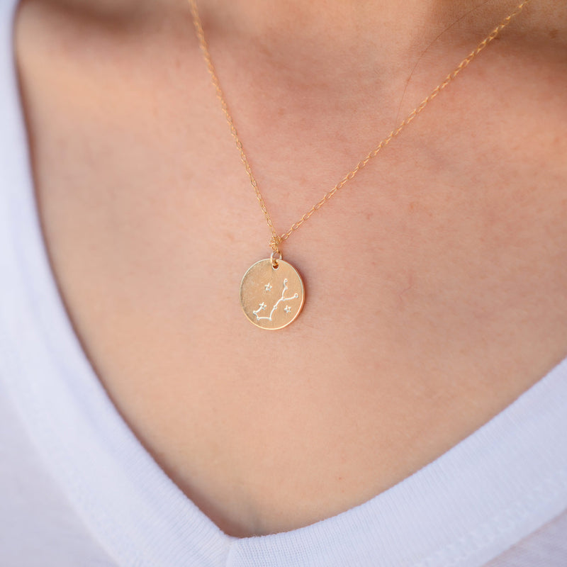 Gold Zodiac Necklace - 14k Gold Vermeil Chain