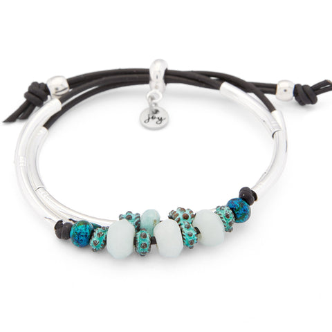 Apple Adjustable Black Leather and Silver Bracelet with Amazonite shown in natural black leather