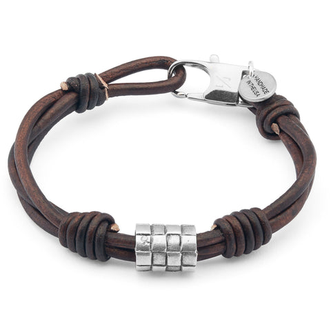 Climber Unisex Bracelet in natural antique brown leather
