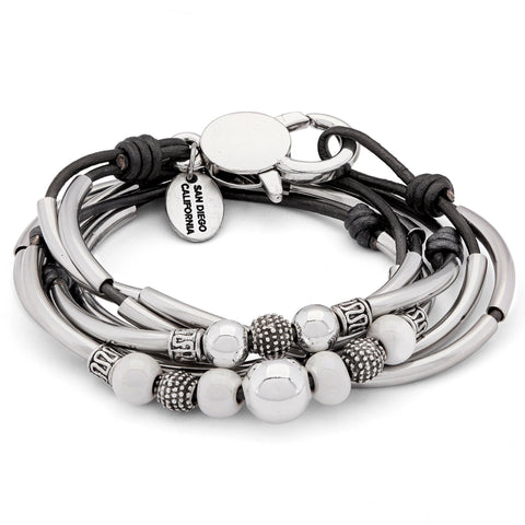 Cora Silver and Leather Wrap Bracelet Necklace with Ceramic Beads shown in metallic gunmetal leather