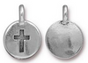 Lizzy James cross on circle charm in pewter with silver tone