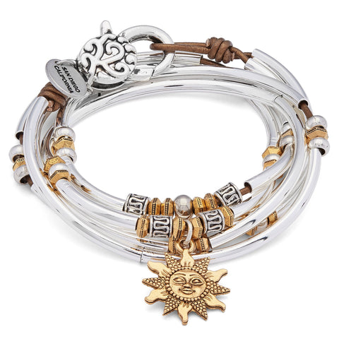 Emory Silver and Leather Wrap Bracelet Necklace with Gold Sun Charm shown in metallic bronze leather