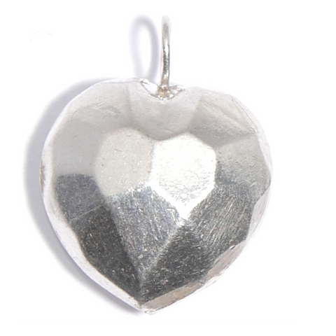 Sterling Silver Faceted Puffed Heart