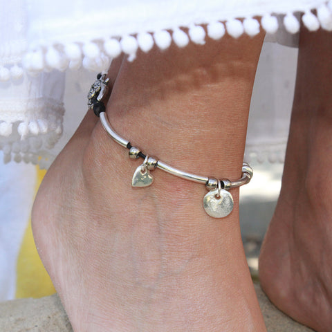 Gigi Anklet In Silver And Single Leather Strand Charm