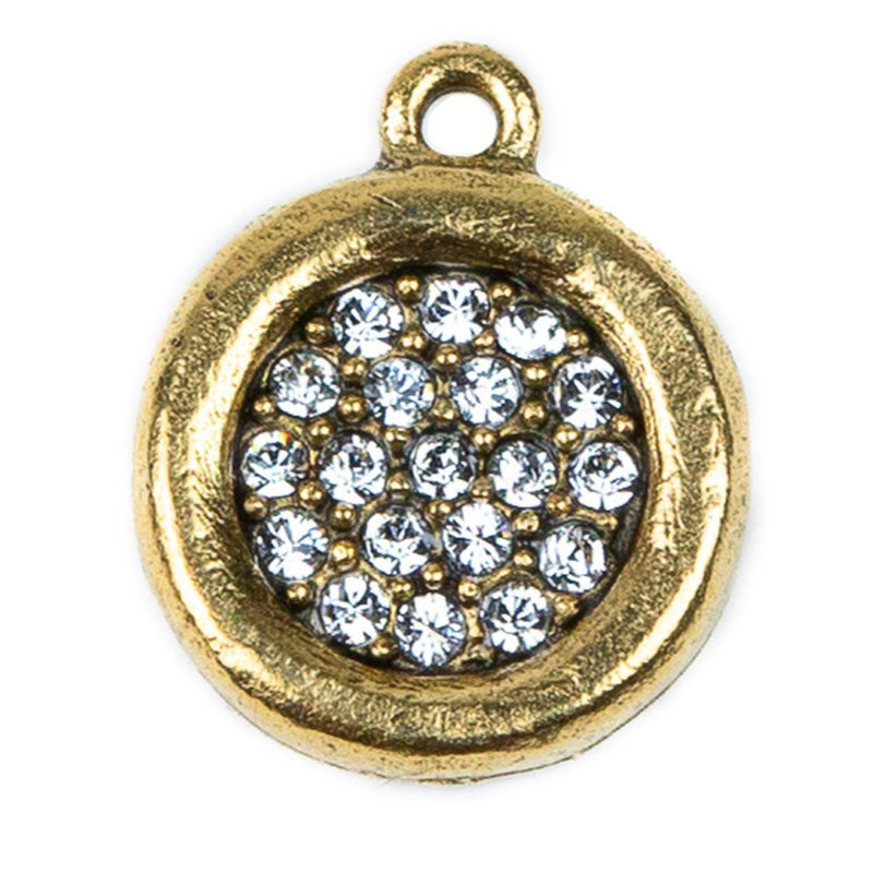 Gold Crystal Disc Charm - 24ct Gold Plate