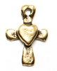 gold heart on cross charm for lizzyjames charm bracelets & necklaces