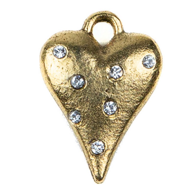 Gold Crystal Encrusted Heart Charm - 24ct Gold Plate